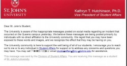 SJU Vice President of Student Affairs Kathryn T. Hutchinson Alleged E-mail about #ExpelClifford