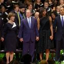 RAW: George Bush dancing during Dallas memorial service